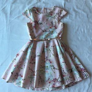 Ted Baker girls floral pink dress sz12 ur